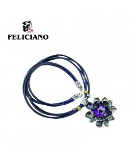 COLLAR PLATA FLOR DOBLE HOJA